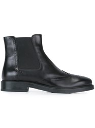 Tod's Brogue Detailing Chelsea Boots Black