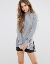 Glamorous Long Sleeve Top With High Neck In Plisse Fabric Grey