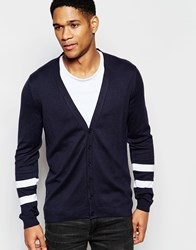 Asos Cardigan In Cotton With Stripe Detail On Sleeve Navy
