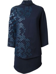 Jay Ahr Embellished Cape Dress Blue