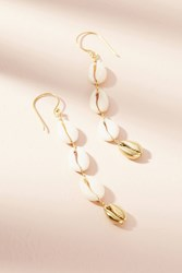 Anthropologie Cowrie Shell Drop Earrings Gold