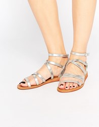 London Rebel Bobby Tie Up Strappy Flat Sandals Silver