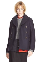 Women's Marc By Marc Jacobs 'Norman' Bonded Wool Peacoat General Navy