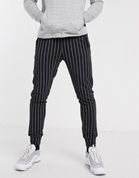 Another Influence Tapered Drawstring Trousers In Stripe Black