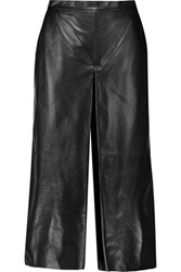 Mcq By Alexander Mcqueen Cropped Leather Wide Leg Pants Black
