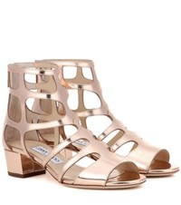 Jimmy Choo Ren 35 Metallic Leather Sandals Gold
