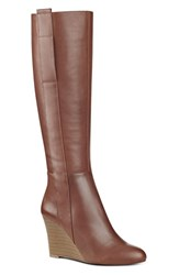 Nine West Women's Orsella Tall Wedge Boot Cognac Leather