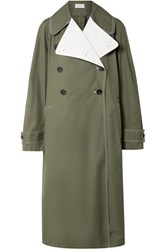 By Malene Birger Hazina Double Breasted Two Tone Cotton Gabardine Coat Army Green