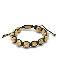 King Baby Studio Brass Feather Beads Macrame Bracelet Black