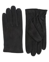 Agnelle Black Grained Leather Gloves With Rabbit Fur Lining