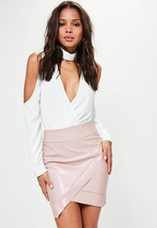 Missguided Pink Asymmetric Faux Leather Mini Skirt