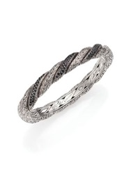 John Hardy Classic Chain Black Sapphire And Sterling Silver Twisted Bangle Bracelet Silver Black