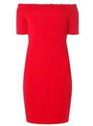 Dorothy Perkins Red Shirred Bardot Bodycon Dress