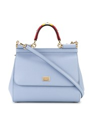 Dolce And Gabbana Small Sicily Floral Top Handle Tote Women Leather One Size Blue