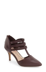Sole Society Women's 'Mallory' T Strap Leather Pump Red Wine