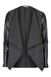 Faux Leather Sleeved Watferfall Jacket By Wal G Grey
