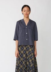 Margaret Howell Bellow Pocket Washed Cotton Shirt Mid Grey