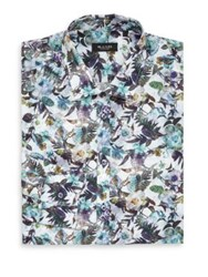 Sand Linen Floral Print Dress Shirt Blue