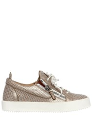 Giuseppe Zanotti 20Mm Snake Printed Leather Sneakers Gold