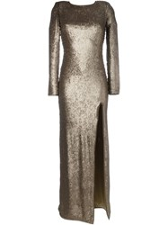 Maria Lucia Hohan Metallic Long Sleeve Evening Dress With A Front Slit
