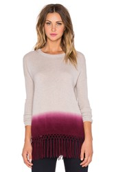 Autumn Cashmere Dip Dye Fringe Sweater Gray