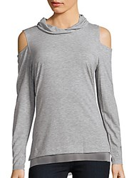 Nanette Lepore Cold Shoulder Heathered Top Grey Heather