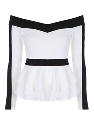 Jane Norman Monochrome Peplum Top Black White Black White
