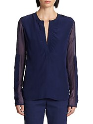 Reed Krakoff Sheer Panel Henley Top Cobalt
