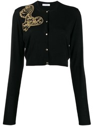 Versace Collection Embroidered Cardigan Black