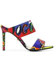 Versace Printed High Heeled Mules Multicolour