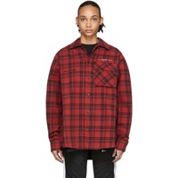 Off White Red Flannel Check Shirt