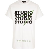 River Island Mens White Oversized Fit 'Studio' Print T Shirt
