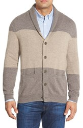 Men's Big And Tall Nordstrom Cashmere Colorblock Shawl Collar Cardigan Tan Prtbla Cmbo