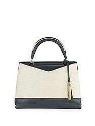 Vince Camuto Two Tone Leather Satchel Beige