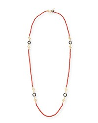 Miseno Sea Leaf Long Beaded Coral Necklace With Diamonds