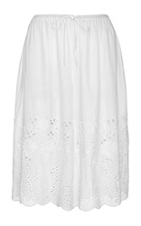 Suno White Cotton Cutout Eyelet Culottes