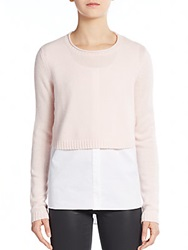 Elie Tahari Lacy Layered Sweater Top Pink