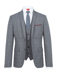 Lambretta Men's Check Slim Fit Two Piece Suit Grey