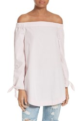 Free People Women's 'Show Me Some Shoulder' Off The Shoulder Cotton Blouse Pink