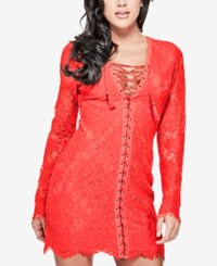 Guess Lace Up Lace Mini Dress Flame Scarlet
