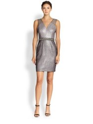 Kay Unger Beaded Waist Cocktail Dress Pink Silver Multi