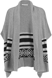 Autumn Cashmere Intarsia Knit Cardigan Gray