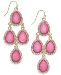 Inc International Concepts Gold Tone Teardrop Stone And Crystal Chandelier Earrings Only At Macy's Rose