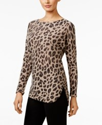 Charter Club Cashmere Animal Print Sweater Only At Macy's Heather Taupe