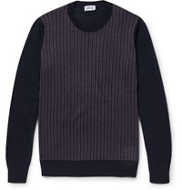 Brioni Jacquard Knit Silk Wool And Cashmere Blend Sweater Blue
