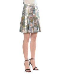 Bottega Veneta Metallic Tulip Print Pleated Skirt 40 4