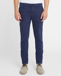 Knowledge Cotton Apparel Navy Stretch Slim Fit Chinos Blue