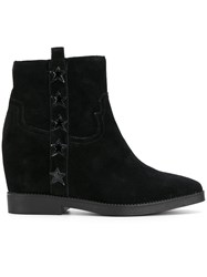 Ash Concealed Wedge Boots Leather Suede Rubber Black