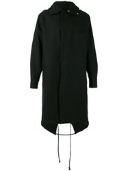 Raf Simons Back Print Hooded Coat Black