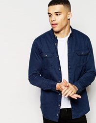 Pull And Bear Pullandbear Twill Shirt In Navy Black